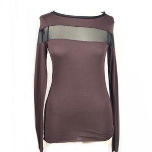 All saints brown mesh long sleeve top